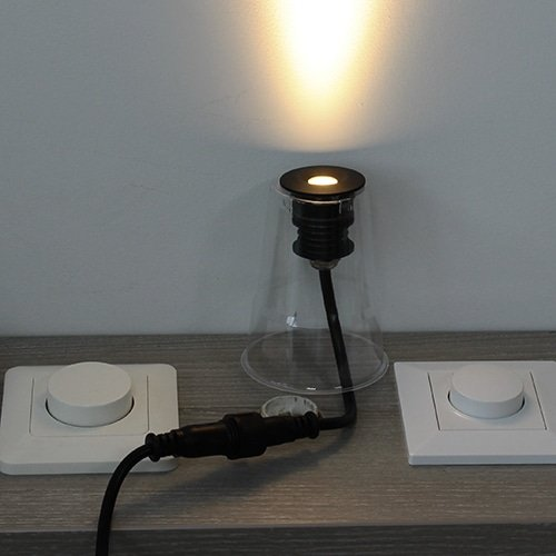 LED mini spot 40mm 3Watt rond ZWART IP68 dimbaar