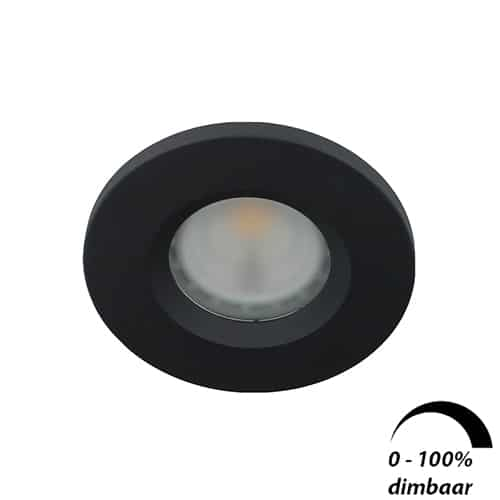 LED spot GU10 6Watt rond ZWART IP65 dimbaar