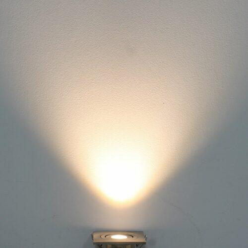 LED mini spot 60x60mm kantelbaar 3Watt vierkant NIKKEL IP65 dimbaar
