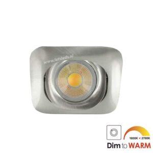 LED spot GU10 7Watt COB vierkant NIKKEL dimbaar