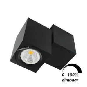 LED opbouwspot Malta 6Watt vierkant draaibaar ZWART dimbaar