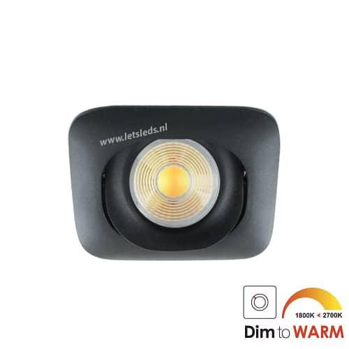 LED spot GU10 7Watt COB vierkant ZWART dimbaar