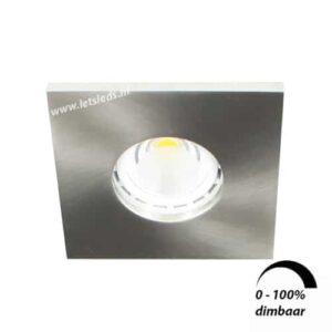 LED spot GU10 6Watt vierkant NIKKEL IP65 dimbaar