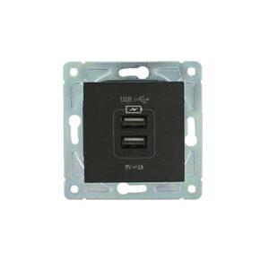 Dubbel USB stopcontact Nero zwart