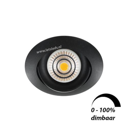 LED spot GU10 6Watt COB rond ZWART dimbaar