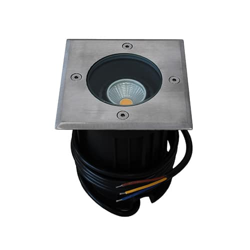 LED grondspot GU10 3Watt COB vierkant RVS dimbaar IP65