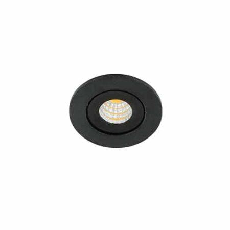 LED mini spot 52mm kantelbaar 3Watt rond ZWART IP65 dimbaar