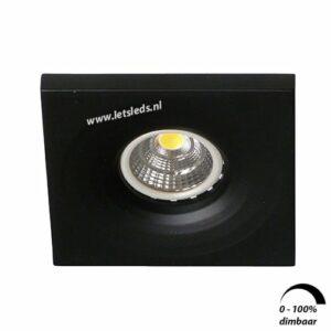 LED spot GU10 6Watt vierkant ZWART dimbaar