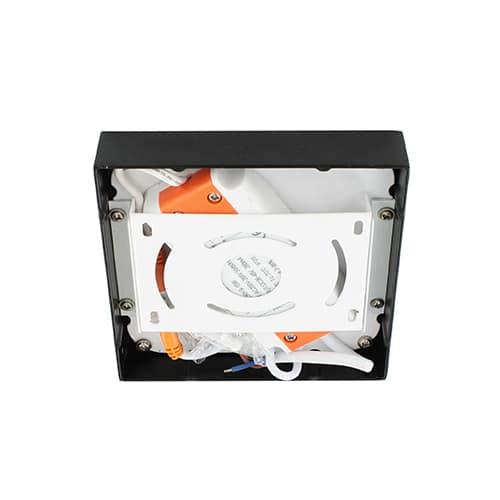 LED plafonniere 9Watt vierkant ZWART 220Volt dimbaar