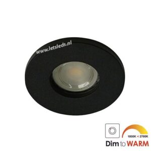 LED spot GU10 7Watt rond ZWART IP65 dimbaar