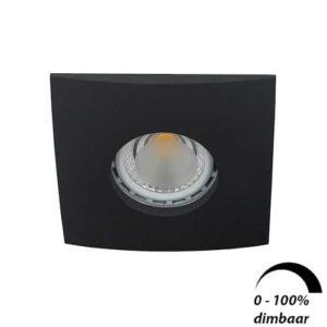 LED spot Calisto GU10 6Watt vierkant ZWART IP65 dimbaar
