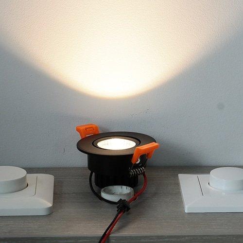 LED spot 67mm kantelbaar 3Watt rond ZWART dimbaar