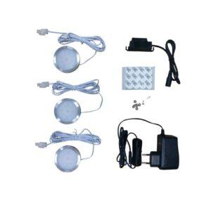 LED opbouwspot IP20 3x2Watt rond 12Volt (set)