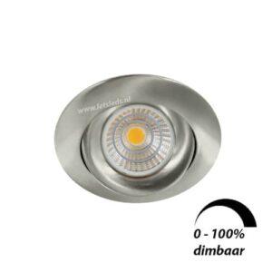 LED spot GU10 6Watt COB rond NIKKEL dimbaar