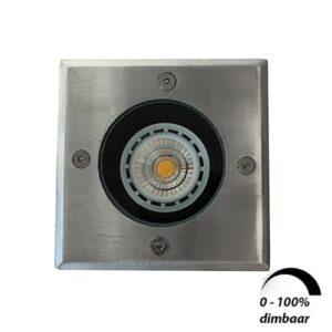 LED grondspot GU10 6Watt COB vierkant RVS dimbaar IP65