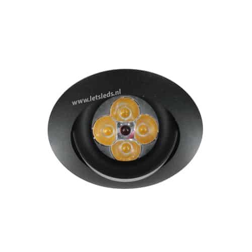 LED spot GU10 4Watt rond ZWART dimbaar