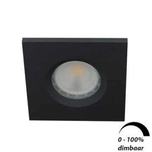 LED spot GU10 6Watt vierkant ZWART IP65 dimbaar