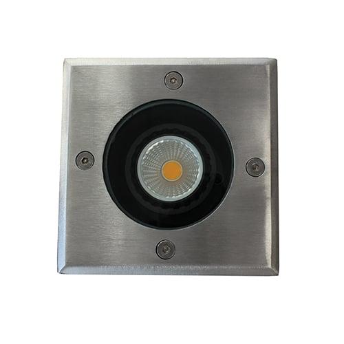 LED grondspot GU10 5Watt COB vierkant RVS dimbaar IP65