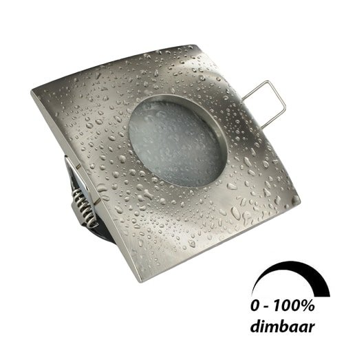 LED spot Calisto GU10 6Watt vierkant NIKKEL IP65 dimbaar