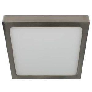 LED plafonniere 15Watt vierkant NIKKEL 220Volt dimbaar