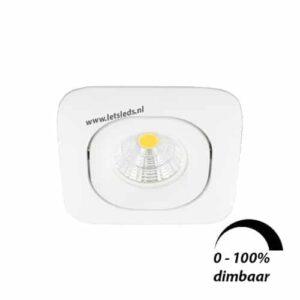 LED spot GU10 6Watt COB vierkant WIT dimbaar