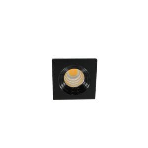 LED mini spot 3838mm 3Watt vierkant ZWART dimbaar