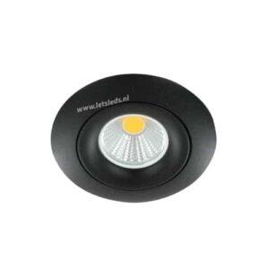 LED spot GU10 5Watt COB rond ZWART dimbaar