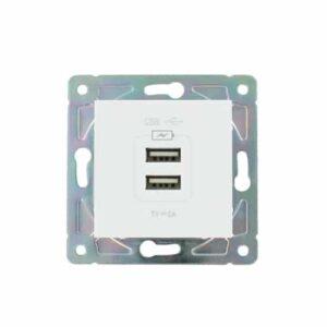 Dubbel USB stopcontact Oslo wit
