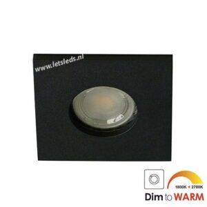 LED spot GU10 7Watt vierkant ZWART IP65 dimbaar