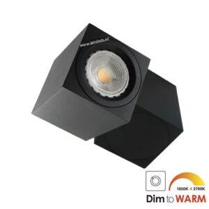 LED opbouwspot Malta 7Watt vierkant draaibaar ZWART dimbaar