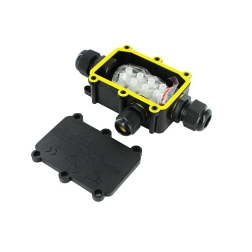 T Connector 3 polig IP68 waterdicht zwart