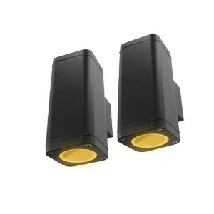 Set 2x Schuttinglamp LED 2x3Watt ZWART 220Volt IP65 dimbaar