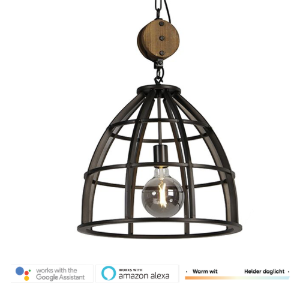 Industriële hanglamp SMART zwart smoked glass dimbaar – Arthur 1