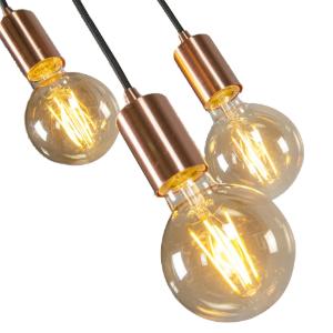 Industriële hanglamp koper - Facil Trio 4