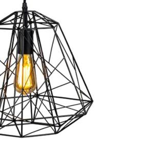 Industriele hanglamp zwart framework