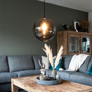 Industriële hanglamp zwart grijs globe - Pallon 5