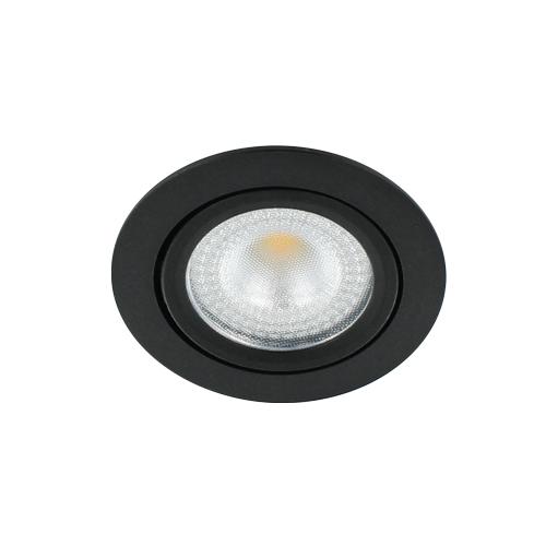 LED spot kantelbaar 5Watt rond ZWART IP65 dimbaar D2-1 - Zonder driver