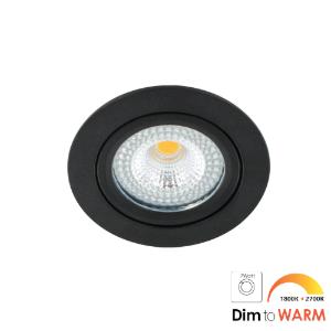 LED spot kantelbaar 7Watt rond ZWART IP65 dimbaar DTW-1 - Zonder driver