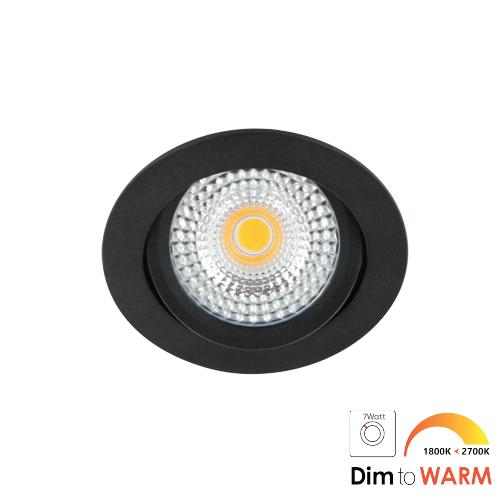 LED spot kantelbaar 7Watt rond ZWART IP65 dimbaar DTW-2 - Zonder driver