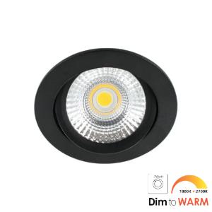 LED spot kantelbaar 7Watt rond ZWART dimbaar-DTW-2