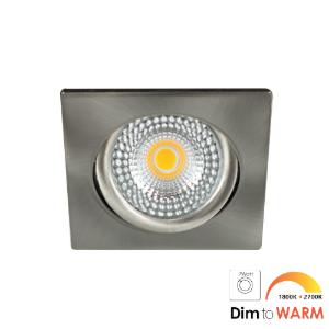LED spot kantelbaar 7Watt vierkant NIKKEL IP65 dimbaar DTW-2 - Zonder driver