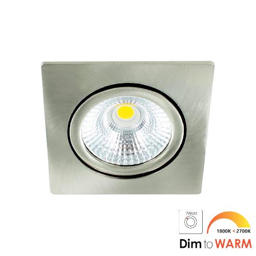 LED spot kantelbaar 7Watt vierkant NIKKEL dimbaar-DTW-1