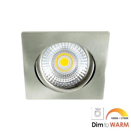 LED spot kantelbaar 7Watt vierkant NIKKEL dimbaar-DTW-2