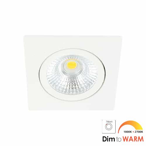 LED spot kantelbaar 7Watt vierkant WIT dimbaar-DTW-1