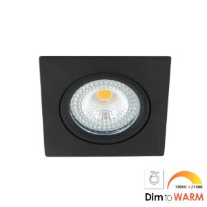 LED spot kantelbaar 7Watt vierkant ZWART IP65 dimbaar DTW-1 - Zonder driver