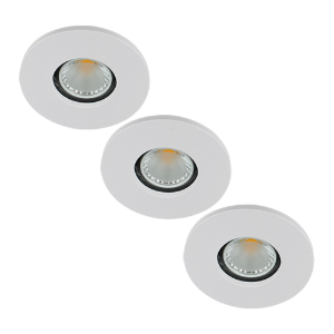 Set 3x LED spot GU10 COB 5Watt rond WIT IP65 dimbaar