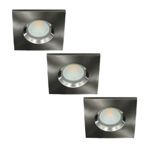 Set 3x LED spot GU10 COB 5Watt vierkant NIKKEL IP65 dimbaar D2