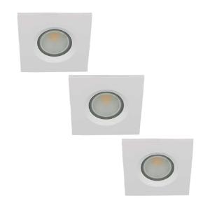 Set 3x LED spot GU10 COB 5Watt vierkant WIT IP65 dimbaar D2