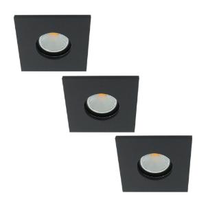 Set 3x LED spot GU10 COB 5Watt vierkant ZWART IP65 dimbaar
