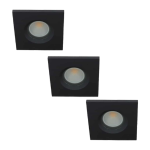 Set 3x LED spot GU10 COB 5Watt vierkant ZWART IP65 dimbaar D2